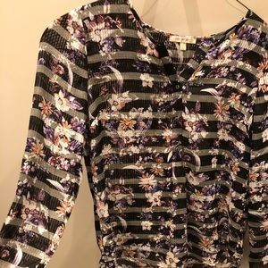 floral and stripes blouse